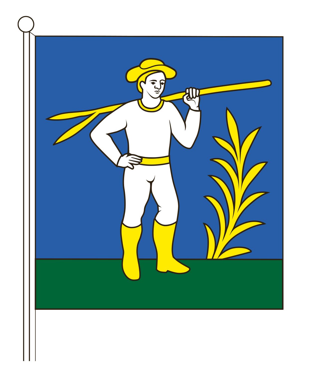 Zástava mestskej časti Zádubnie s erbom